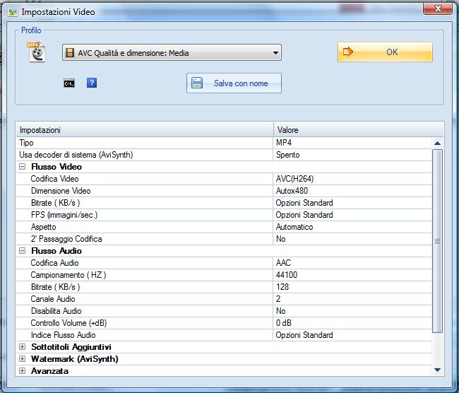 Le impostazioni di Format Factory per ottenere un file mp4 riproducibile da HD Webplayer